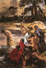 Bain en Bretagne, vers 1909 Aquarelle gouachée 140 x 104 cm Collection particulière