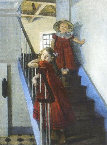 L'escalier du Sémaphore, 1903 Huile sur toile, 106 x 82, Collection particulière. Les deux filles aînées du peintre, Charlotte et Lucienne, dans l'escalier de la partie ancienne du Sémaphore.