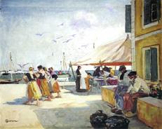 Le quai de Kérity vers 1937- 1939Huile sur toile - 81 x 100 Musée des beaux-arts de Quimper, dépôt du Fonds national d'art contemporain