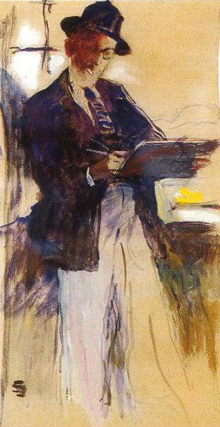 Lucien Simon autoportrait dessinant