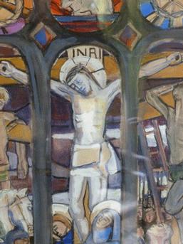 Pauline de La Jarrige, Aquarelle gouachée sur papier (Collection particulière) Détail central de la maquette du vitrail de Combrit
