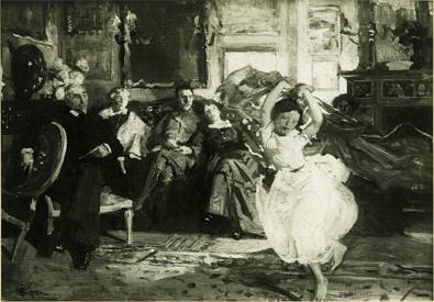 Pauline dansant devant la famille et le peintre Aman-Jean