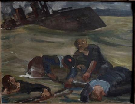 Matelots agrippés à des espars… Panneau de droite de la stèle.