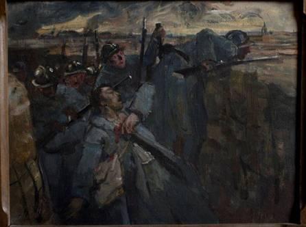 Tranchée avec plusieurs fantassins en bleu horizon dont un blessé s'effondrant. Panneau de gauche de la stèle.