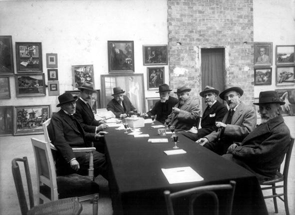 Le Jury aux Beaux-Arts. De gauche à droite : n°1 Edmond Aman Jean, n°4 Ernest Laurent, n°5 Maurice Denis, n°6 George Desvallières, n°7 Lucien Simon