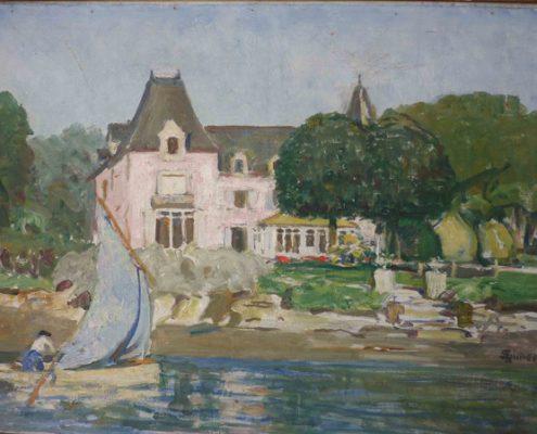 Barque devant le château rose, Lucien Simon, collection particulière