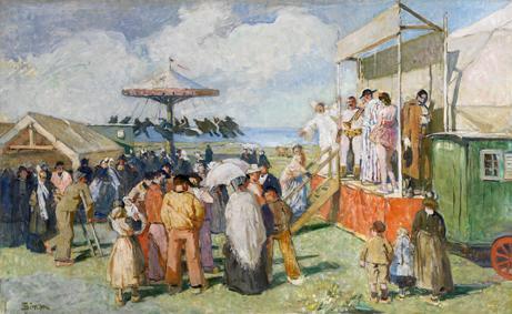 Lucien Simon Parade de cirque 136 x 224 cm Collection de l'association des Abris du marin Exposée à l'Abri du marin du Guilvinec /© Photo L.Guégan