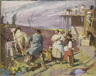 Le retour du soldat Lucien Simon (1861-1945) Huile sur toile, 1928, hauteur 73 cm, largeur 92 cm, signé en à droite. Depuis 1985 au Musée départemental de l'Oise à Beauvais, inventaire 85.19